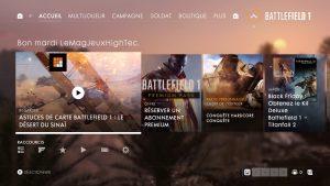 Battlefield 1 menus